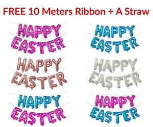 """16"""" Rose gold Pink Blue Happy Easter Foil Balloons Spring Party Decor Baloons"""
