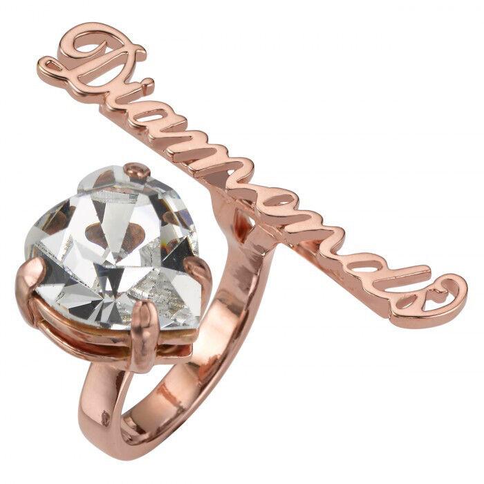 MAWI London Diamonds Slogan Open Heart Ring (UK Size L)(USA 6)