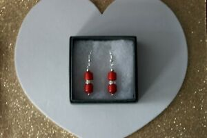 Beautiful Earrings With Red Coral & Diamantino Rondelle 4 Gr 2.5 Cm Long + Hooks