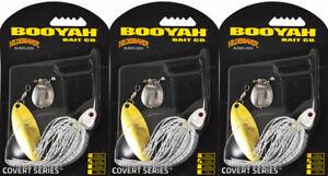 (LOT OF 3) BOOYAH COVERT SPINNERBAIT BYCVS12NGT728 1/2OZ WHT SLVR SCL/PRL BO6305