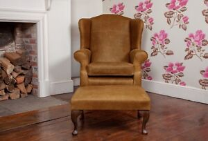 Details About Leather Armchair High Back Wing Chair Footstool In Vintage Tan Leather Uk Made