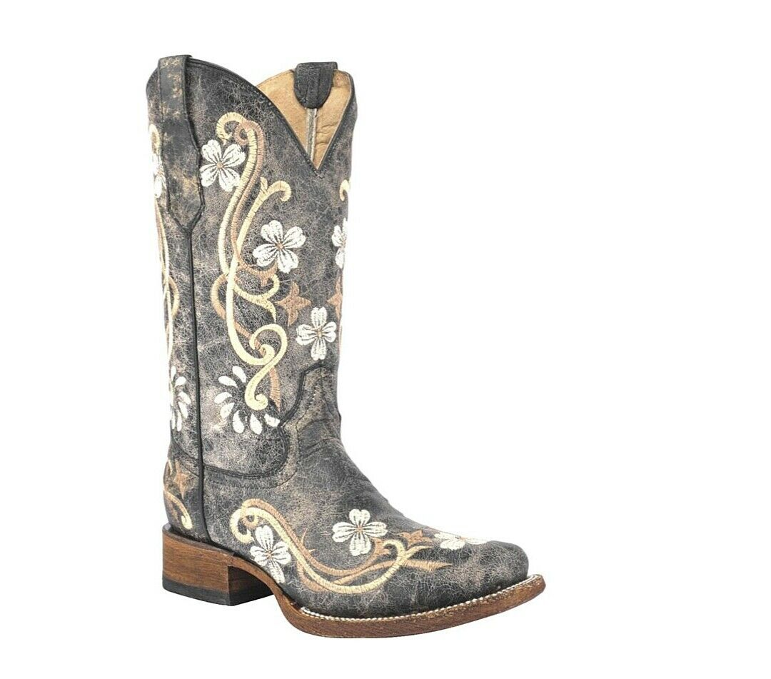 Circle G By Corral Ladies Cowhide Square Toe Leather Cowgirl Boots Honey L5241