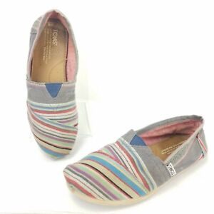 Toms-Slip-On-Wrap-Style-Canvas-Multi-color-Striped-Flats-Shoes-Womens-Size-6