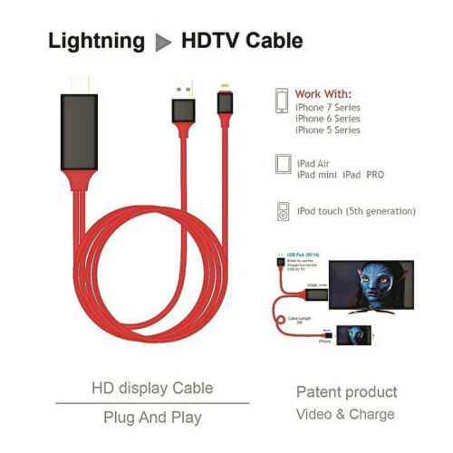 8 Pin Lightning to HDMI Adapter Cable AV 4K*2K TV for iPhone 6 6S 7 8 Plus Lot