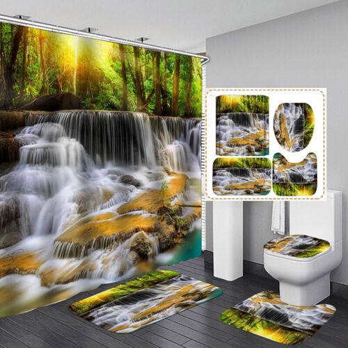Wasserfall-Serie Wasserdichter Badezimmer-Duschvorhang Toilettendeckel-Teppic CH
