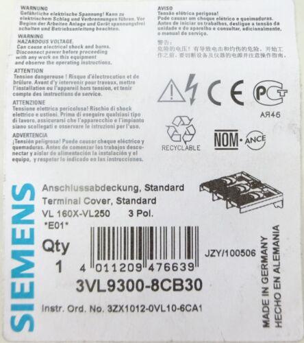2 Pcs Siemens 3vl9300-8cb30 Port Couverture Terminal Cover 3p vl160x-vl250