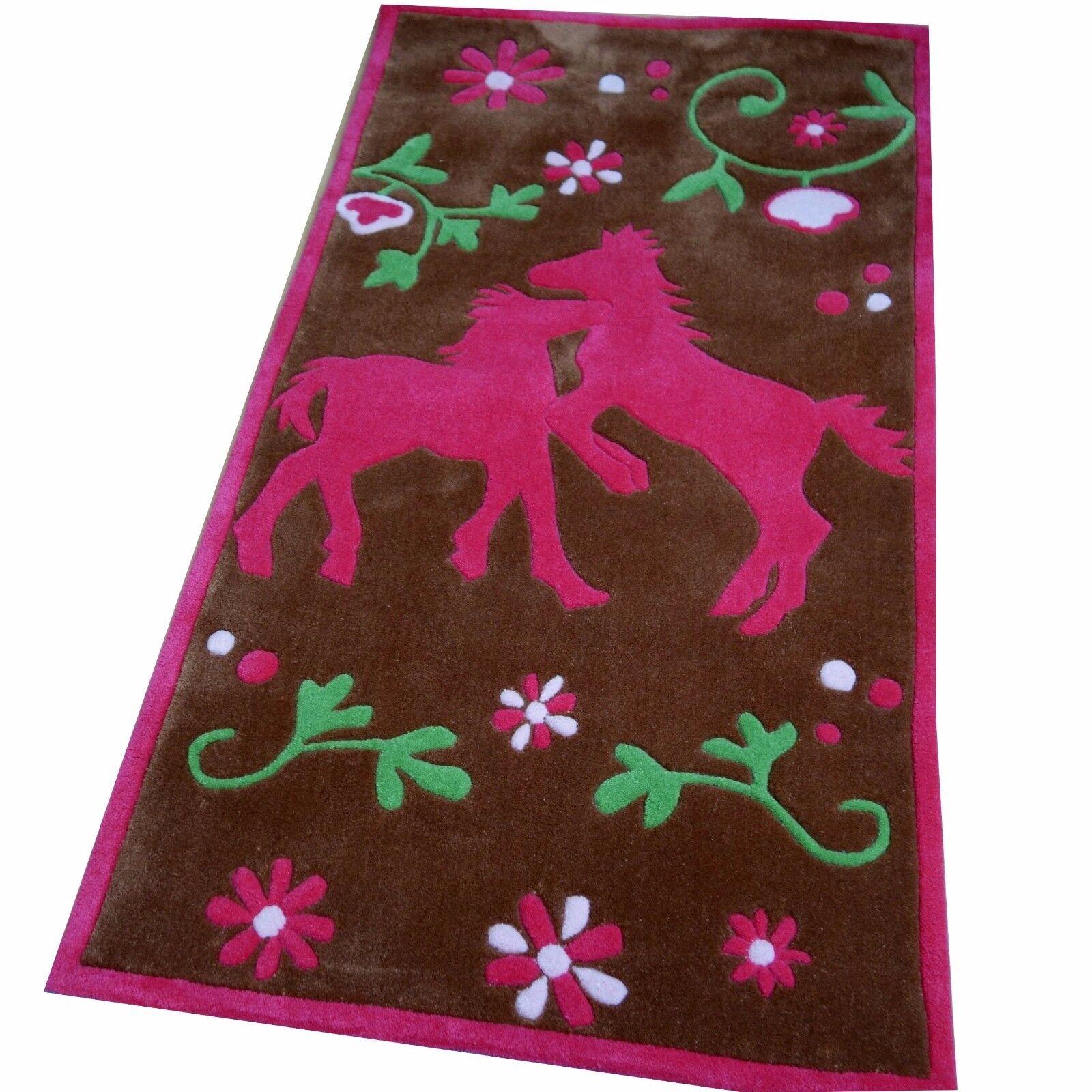 Tapis Chevaux Amis 80x150 cm marron rose Handtuft kinderpielteppich