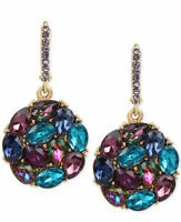 Betsey Johnson Gold-tone Purple And Blue Garden Of Excess Cluster Drop Earrings