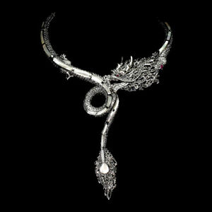 Natural-Fancy-Mother-Of-Pearl-Ruby-Marcasite-925-Sterling-Silver-Dragon-Necklace