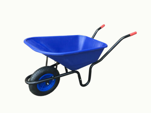 110 Litre BLUE WHEELBARROW Garden Equestrian Wheel Barrow 3.508 PNEUMATIC Wheel