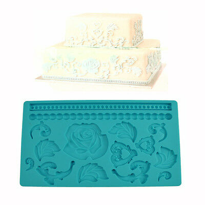 Lace Flower Silicone Mold Fondant Cake Decoration Baking Tool Mould