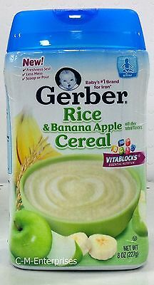 Gerber Rice & Banana Apple Cereal for Baby 8 oz