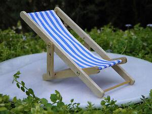 Miniature-Dollhouse-FAIRY-GARDEN-Blue-amp-White-Stripe-Lounge-Beach-Deck-Chair