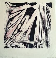 "Hella Dehaas: ""Chrysalide"" 1970 / Swiss S/Color Woodcut Abstract Modernism"