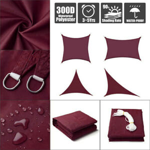 Sun-Shade-Sail-Outdoor-Patio-Top-Canopy-Cover-98-Anti-UV-Waterproof-Wine-Red-US