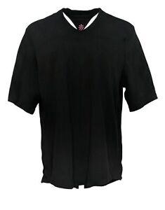 Isaac Mizrahi Live! Women's Top Sz XL V-Neck Elbow Sleeve Tunic Black A289635