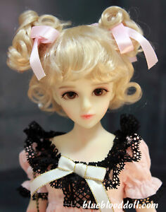 "1/4 1/6 bjd 6-7"" synthetic mohair blonde color doll wig dollfie Lati iplehouse"