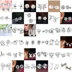cee0d7bf471e2 Details about 1/2 Pair Women 925 Silver Crystal Rhinestone Pearl Ear Stud  Earrings Jewelry New