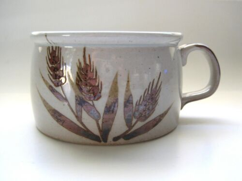 Vintage Brown Wheat Pattern Stoneware Wide Low Mug Soup Bowl 4 available
