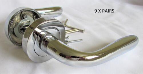 Modern Marina Style Chrome Silver Door Handles Round Rose Stylish interior D17