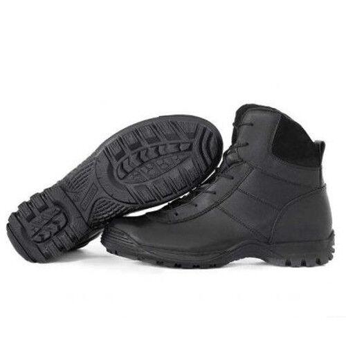 Men's Combat botas zapatos Tactical Russian Leather Garsing Winter Fleece negro