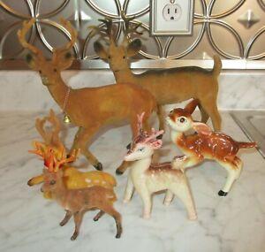 6-Assorted-Vintage-Plastic-Glass-Flocked-Christmas-Deer-Reindeer-Buck