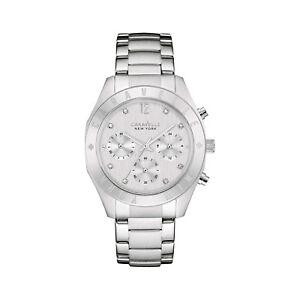 Caravelle-Women-039-s-43L190-Quartz-Crystal-Chronograph-Silver-Tone-36mm-Watch