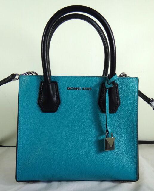 Michael Kors Mercer Medium Teal Blue White Black Leather Satchel Messenger Bag