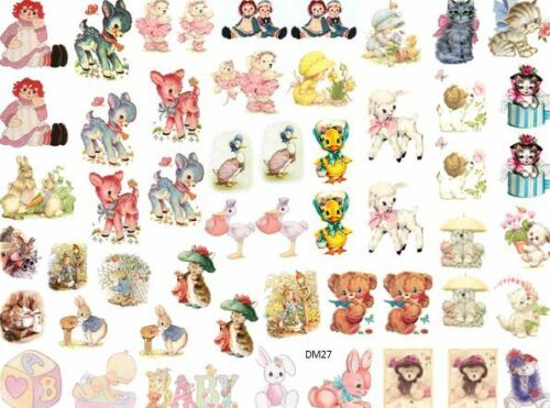 DoLLHouSe MiNiaTureS AsSoRTeD NuRSerRY ShaBby WaTerSLiDe DeCALs Découpage DM27