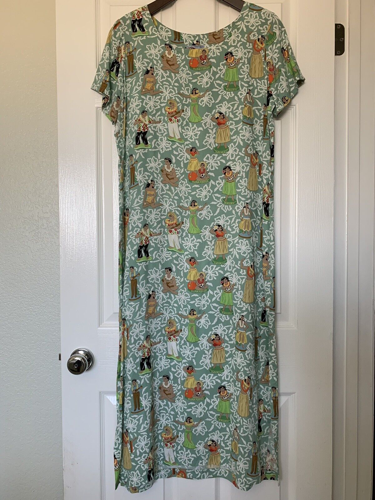 Vintage REYN SPOONER Hula Girls Ukulele Bobbleheads Hawaiian Aloha Maxi Dress M