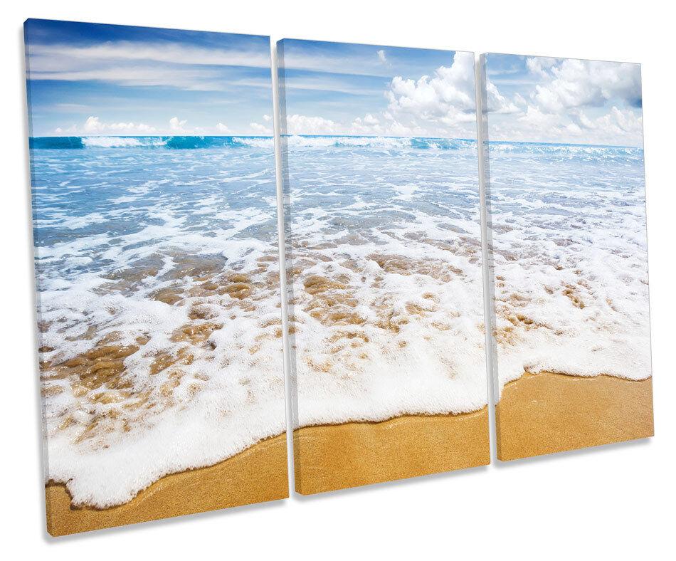 Beach Surf Wave Seascape TREBLE CANVAS WALL ART Box Framed Print