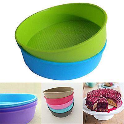 """10"""" Round Silicone Cake Mold Pan Muffin Chocolate Pizza Pastry Baking Tray Mould"""
