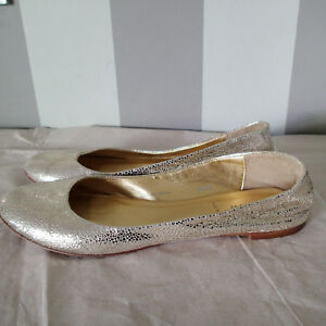 J.Crew Women 8.5 Metallic Gold Crackle Kelsey Ballet Flats Leather Made Italy