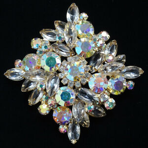 Vintage DeLizza and Elster D/&E Juliana Aurora Borealis Crystal Bead and Clear Rhinestone Link Bracelet and Pin Brooch Set
