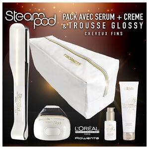 Steampod 2.0 + Sérum + lait de lissage cheveux fins + trousse glossy