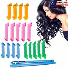 18PCS Hair Curlers Twist Spiral Circle Curl Ringlets Magic Rollers Styling Tool