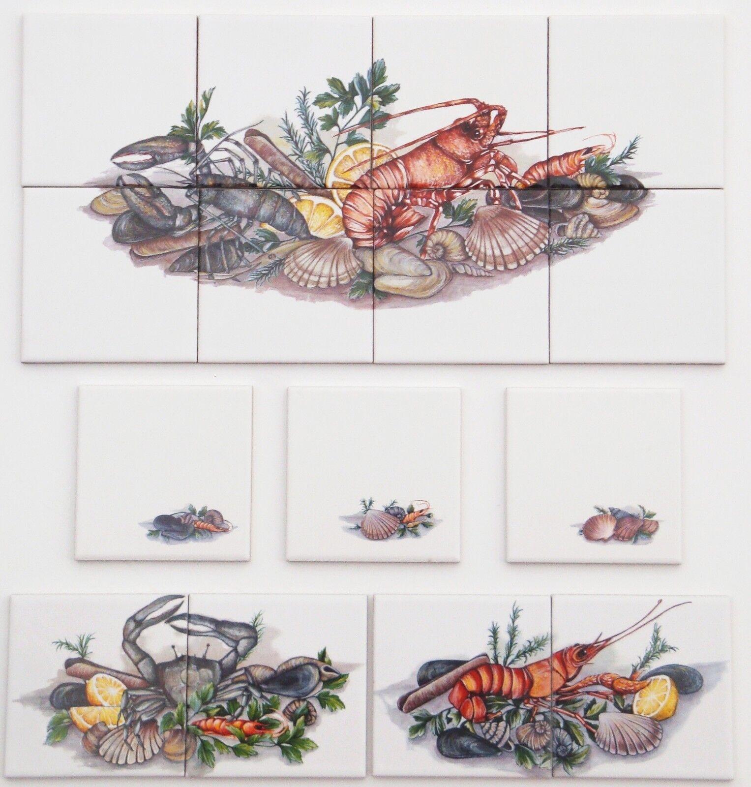 10x10 Küchenfliesen großes 6er Set Meeresfrüchte Krabbe Garnele Languste Hummer