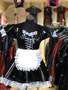 Misfitz Blk PVC Korsett Effekt Sissy French Dienstmädchen Kleid, Gr. 18 Tv Cross Dresser