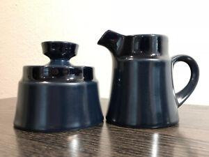 Vintage-Noritake-Primastone-Stoneware-Cobalt-Navy-Blue-Sugar-Bowl-amp-Creamer