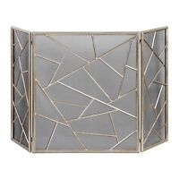 Stately 51 Modern Antiqued Silver Iron / Metal Decorative Fireplace Screen