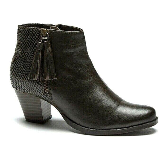 New Womens Comfort Plus Snake Tassel Leather Block Heel Ankle Boots Brown UK 6