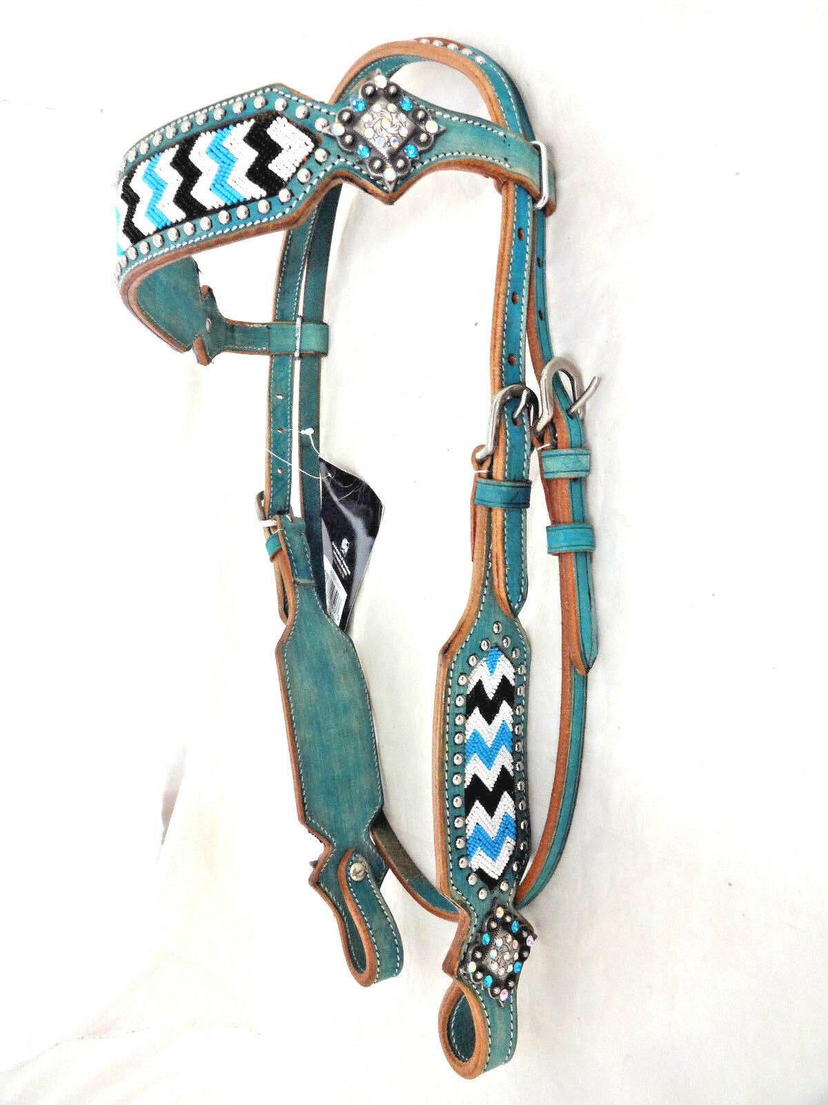 Cabezada de cuero con cuentas de cristal de Chase Conchos Turquesa Tachuela del caballo plata Royal