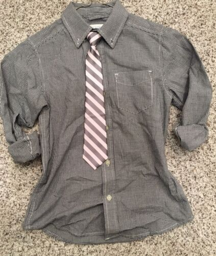 Children's Place Dress Shirt Black White Check and Pink Hues Tie 7-8 #389