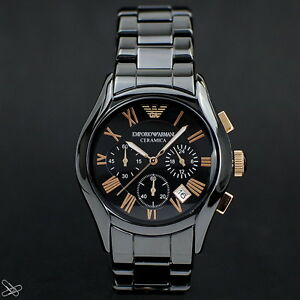 Emporio-Armani-Ceramica-Men-039-s-Watch-AR1410-Chronograph-Colour-Black-Rose-Gold