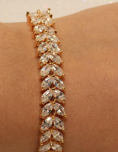 Diamond Tennis Bracelet 14k Yellow Gold Finish Marquise Cut 2 Carat for Women