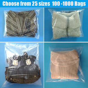 Poly-Plastic-Clear-Lay-Flat-Bags-1-Mil-100-500-1000-Open-Top-Packing-Baggies