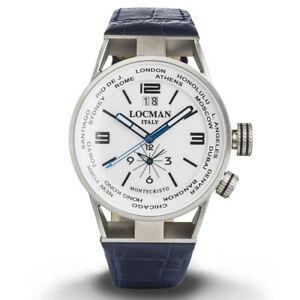 Locman-Montecristo-World-orologio-uomo-Dual-time-blu-cassa-in-acciaio-e-titanio