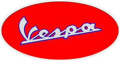 """1 4.5/"""" Vespa Scooter Oval Vintage Logo Decal Scooter Stickers LAMINATED #824"""