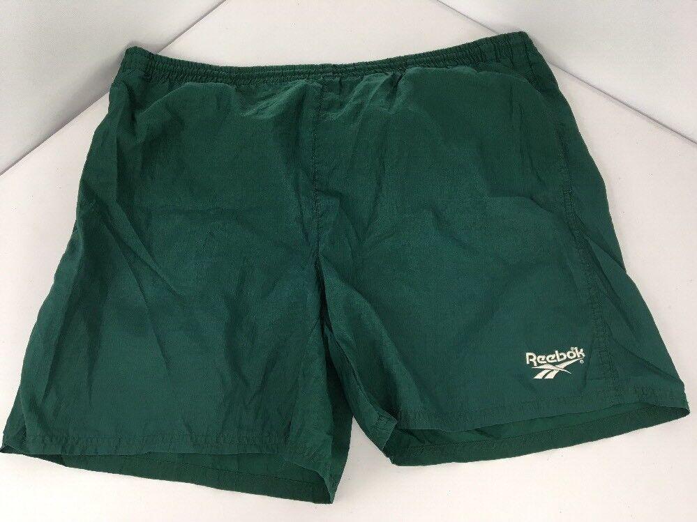 Vtg 80s 90s Green REEBOK Mens L Shorts Nylon Running Swim trunks Lined