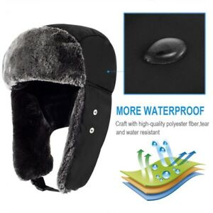 2ecda62c243 Men Women Winter Russian Fur Hat Trooper Bomber Snow Ski Waterproof ...